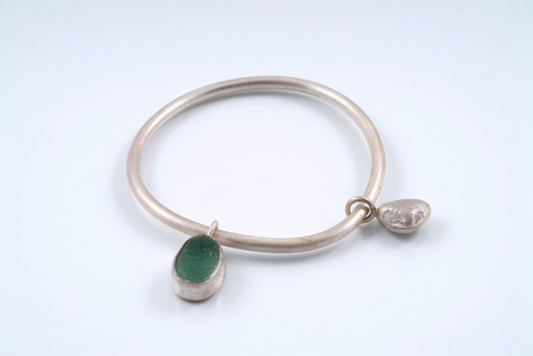 Silver Bangle with Sea Glass and Silver Pebble