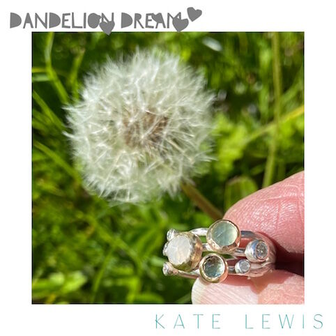 Dandelion Dream - Dune Flowers and Dewdrops Ring a Variation in Green