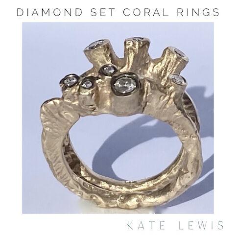 Diamond Set Coral Rings - Gold