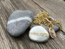 Diamond Veined Pebble Necklace - Silver and Gold