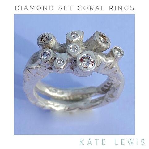 Diamond Set Coral Rings - Silver