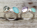 Amethyst and Chalcedony Ring in Silver and Gold