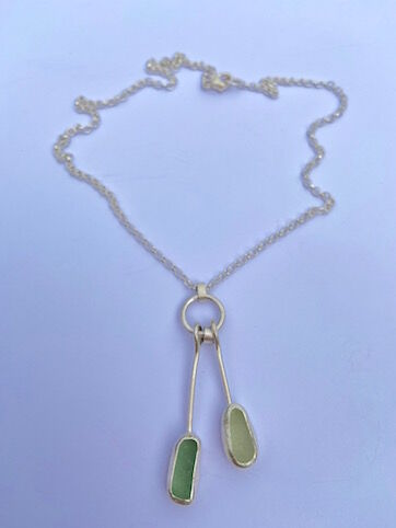 Double Sea Glass Drop Necklace on Silver Hoop