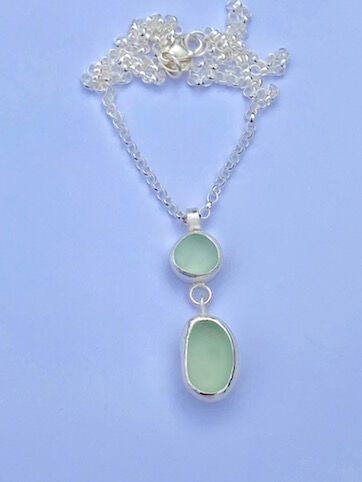 Double Drop Seaglass Necklace - vertical drop