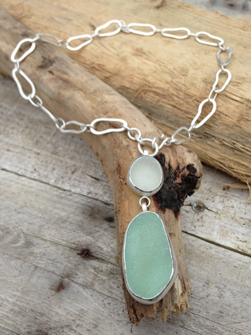 Double Seaglass Necklace on Footprint Chain (short)