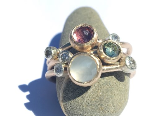 Dune Flowers and Dewdrops Stack Ring