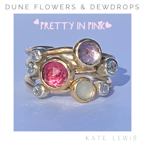 Dune Flowers and Dewdrops Stack Ring - Pink Shades