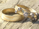 Gentle Waves and Sparkling Ripples- Gold Rings
