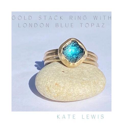 Triple Stack Ring in Gold wth London Blue Topaz