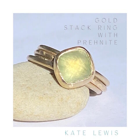 Triple Gold Stack Ring with Prehnite