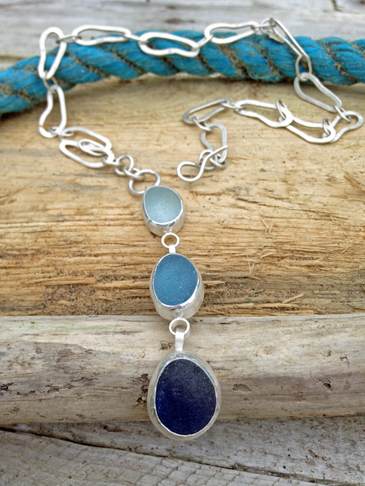 Sea-glass Footprint Necklace - Triple