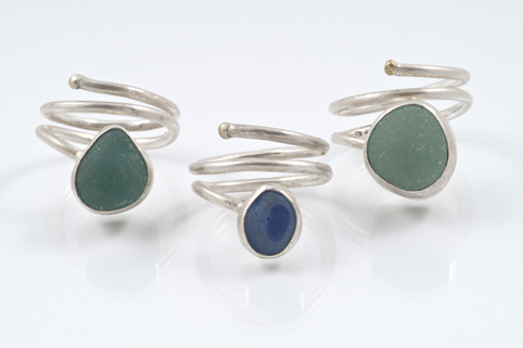 Sea glass wrap ring