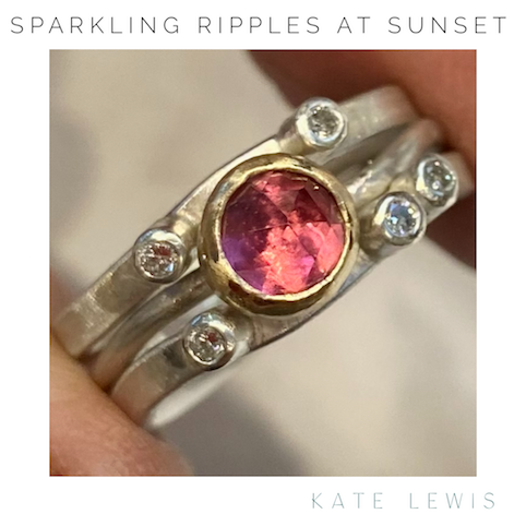 Sparkling Ripples at Sunset Triple Stack Ring - Silver