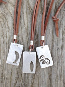 Tag Pendants- silver and leather