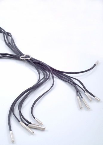 Tassel Wrap Necklace - Silver and Leather