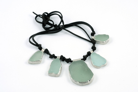 Sea Glass in Silver on Leather