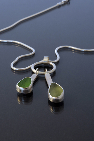 Double Silver and Sea Glass Drop Necklace