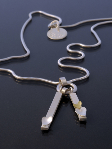 Heart Necklace with 18ct Gold Detail