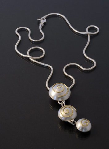 Domed Silver and Drop Necklace with 18ct Gold Spiral detail
