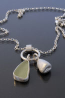 Sea glass and Silver Pebble Necklace