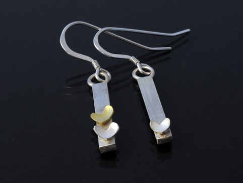 Silver and 18ct Gold Drop Earrings with Hearts