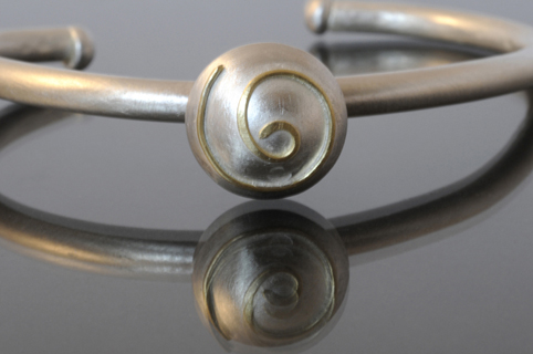 Silver Bangle with 18ct Gold Spiral