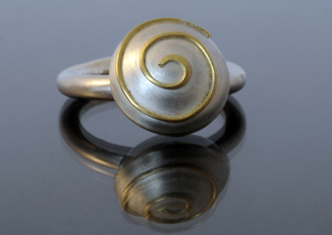 Silver and 18ct Gold Swivel Ring