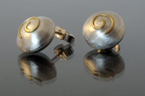 Domed Silver Earrings with 18ct Gold Spiral