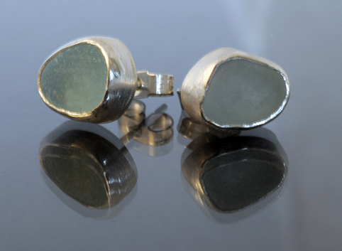 Sea Glass and Silver  Stud Earrings