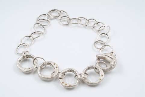Silver Necklace with 18ct Gold Detail
