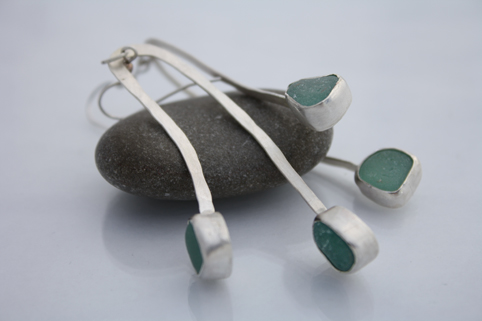 Double Drop Seaglass Earrings - Aqua