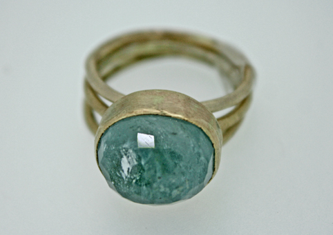 Triple Stack Ring in Gold with Aquamarine