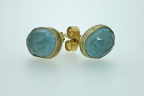 Gold and Aquamarine Earrings