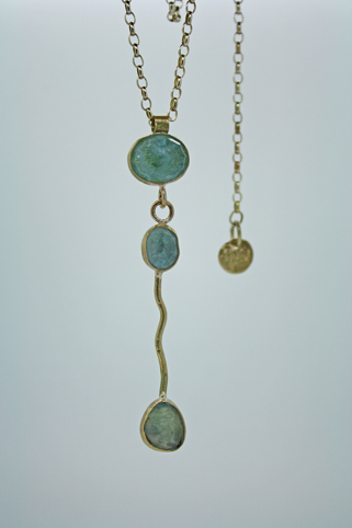 Triple Drop Gold and Aquamarine Necklace
