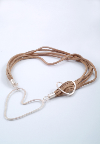 Choker with Two Hearts - Silver and Leather