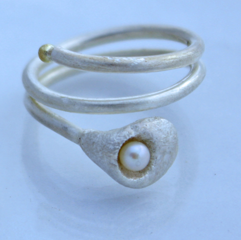 Lily Wrap Ring silver with pearl