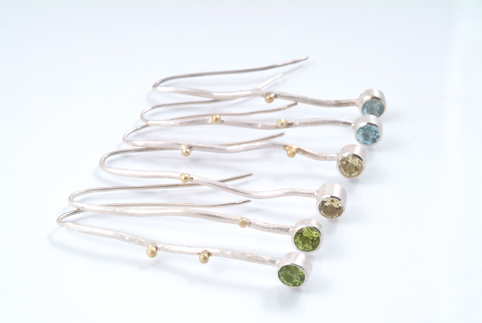 Ripple Long Drop Earrings with Stones