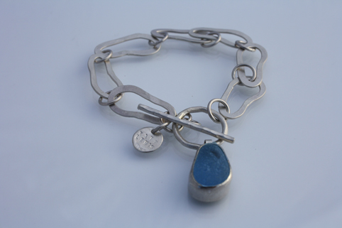 Silver and Sea Glass Footprint Bracelet