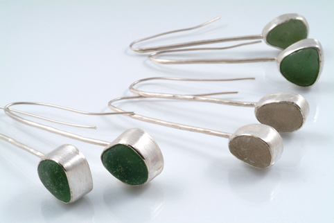 Long Drop Earrings in silver and seaglass