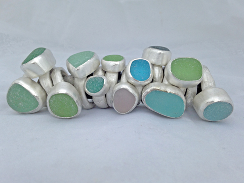Solid Silver Cast Ring with Sea Glass