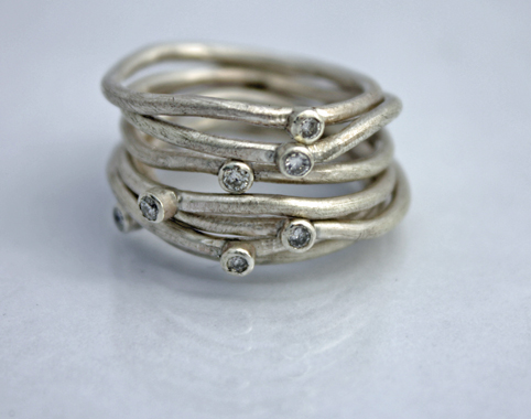 Silver and Diamond Ripple Stack