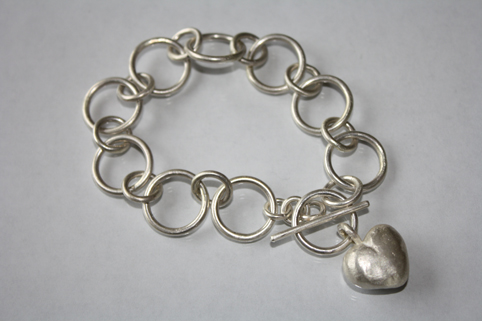 Handcrafted Silver Bracelet with Solid Silver Heart
