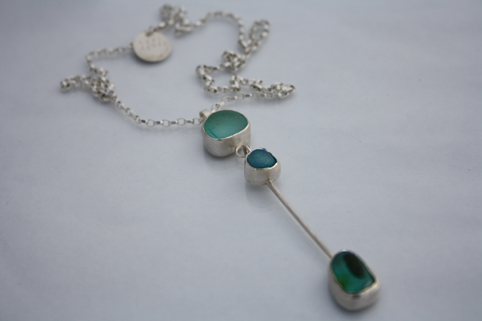 Triple Drop Necklace Sea-glass and Silver