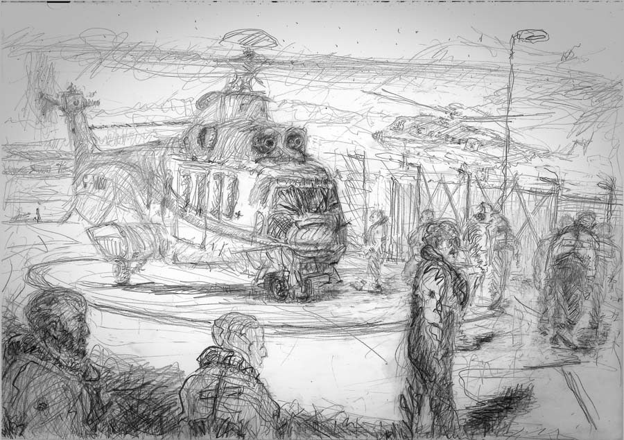 Illustration of drawing done on the run-way of Aberdeen Heliport. Click for final result on image.