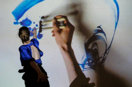 Hedda, an interdisciplinary performance with dancer Imogene Newland and sound artist Suk-Jun Kim. Drawing live in Japanese ink projected on a screen supported by Creative Scotland, City Moves Dance Agency and presented at the May Festival University of Aberdeen.