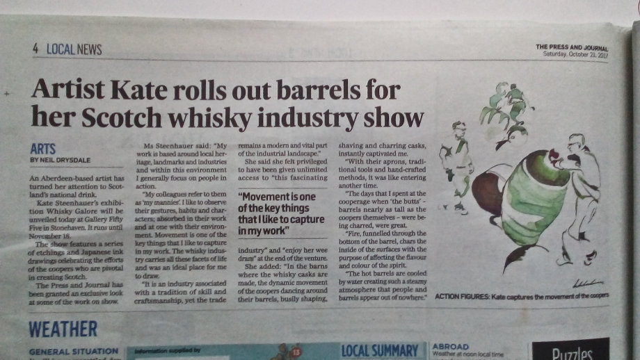 Artist Kate rolls out barrels for her Scotsh whisky industry show
