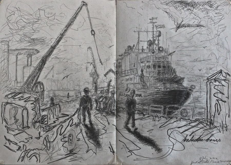 Life drawing of Sentinel Star readying to set sail. Click for final result on image.