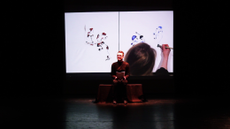 In the Lemon Tree Studio during a theatre performance, The Shelter, in collaboration with creative writer Shane Strachan, supported by Aberdeen Performing Arts Freshly Squeezed Productions. Drawing live in Japanese ink projected on a screen.