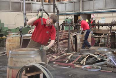 Drawing coopers in action in collaboration with Speyside Cooperage
