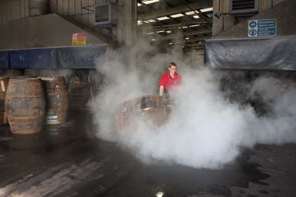 Collaboration with Speyside Cooperage - Charring the butts
